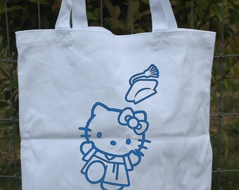Graduation canvas tote bag with Hello Kitty and personalization
