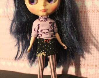 Panda-Punk Set for  1/6 Dolls like  Pullip, j-Doll, Momoko, Obitsu, Blythe, Purnemo, Licca