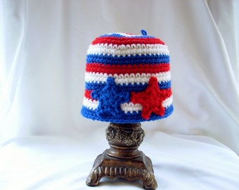 Baby Winter Hat, Baby Crochet Hat, Baby Boy Hat, Baby Girl Hat, Baby Stars and Stripes Hat, USA Crochet Baby Hat, Veteran's Day Baby Hat