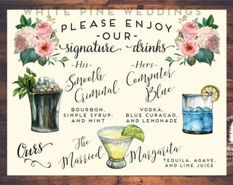 Wedding Signature Drinks sign, Drink Sign, Wedding Bar Menu, Bar sign, Bar Menu, Mint Julep, Margarita, 3 DRINKS ONLY, Digital file