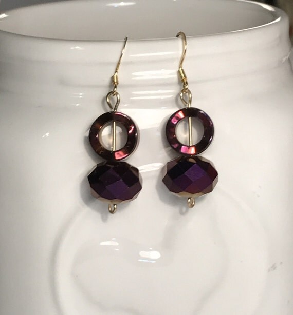 Metallic Purple bead earrings with gold colored wire