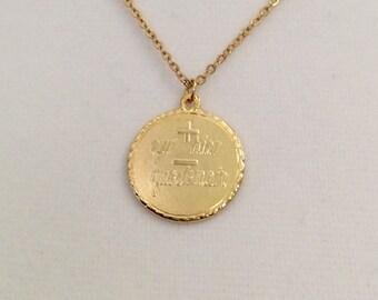 """Vintage French pendant,  """"plus qu'hier moins que demain"""", Love you more pendant, French pendant necklace"""