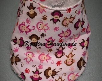 "Bib in pink bandana ""Monkeys"""