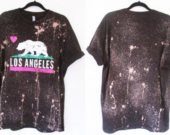 Los Angeles or Make your own t shirts bleached shirt S-2XL Bleached tee