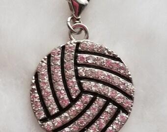 Rhinestone Volleyball Charm - Clip-On - Ready to Wear