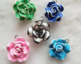 Polymer Clay Flower Charms - Clip-On - Ready to Wear