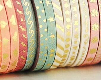 "Extra Skinny Washi Gold Foil Washi Tape Sample 24"""