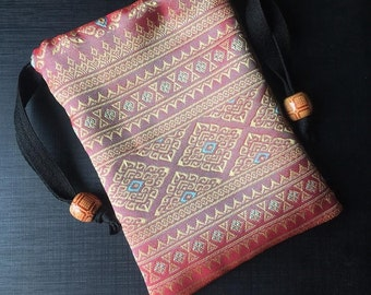 Handmade Thai Silk Salmon Pink Patterns Tarot Pouch Bag Dice Pouch Jewelry Bag With Drawstring