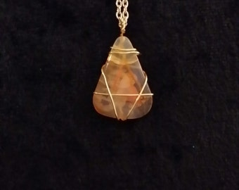 Wire Wrapped Agate Necklace