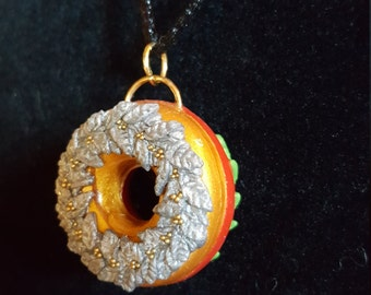 Reversible Polymer Clay Christmas Wreath Pendant