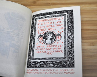 Antique Book. Alls Well That Ends Well by William Shakespeare. Vintage Book 1914. Hardcover.