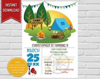 Camping Birthday | Camping Invitation, Camping Party, Birthday Invitation, Camping, Camping Invite, Birthday Invite, Camp Out Birthday