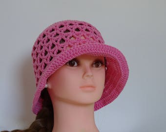 Cerise Pink Summer Hat 100% cotton Hand made