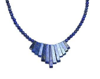 Vintage 1990s Blue Lapis Lazuli Choker Bib Necklace