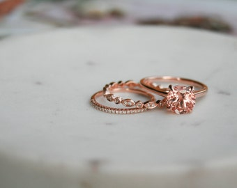 Round Champagne Sapphire Ring, Cathedral Engagement Ring, Champagne Sapphire, Rose Gold Ring, Solitaire Ring