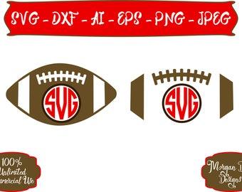 Football SVG - Football Monogram SVG - Football Outline SVG - Sports svg - Files for Silhouette Studio/Cricut Design Space
