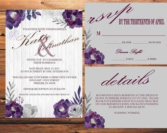 Gray and Purple Wedding Invitation Kit