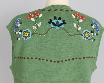 1960s Native Indian Sweater Vest - M/L - Boho Beaded Embroidered Floral Knit Vest - Leather Stitching - Indian Head Buttons - Hippie