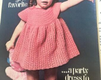 Pdf 1979 vintage  crochet  dress pattern ,  girl crochet  dress pattern.