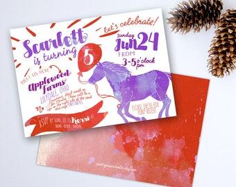 Pony Birthday Invitation, Printable Digital File JPG or PDF, Girl Birthday, Cowgirl Horse Farm Party Theme
