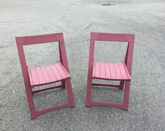 Wood Folding Chairs, Two (2) Vintage Wood Folding Chairs, Folding Chair Set, Pink Chair, Vintage Wood Folding Chair, Retro Chair, Modern