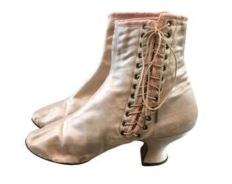 c. 1900 Ballet Slipper Pink Silk Satin Side Lace Ankle Boots