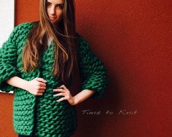 CARDIGAN set. Handmade cardy. Knitted cardigan. Handspun yarn. Chunky yarn.