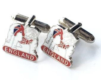 England British Bull Dog in Union Jack Enamel Cufflinks and Gift Box