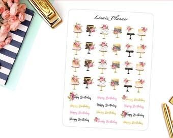 Happy Birthday Cakes Decorative Sticker (matte planner sticker, clipart, Erin Condren, Happy Planner, Filofax, Kikki K)