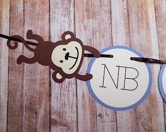 Monkey Photo Banner, Monkey 1st Birthday, Monkey Banner