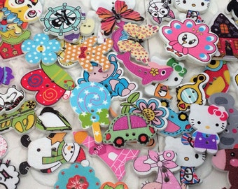 15 pcs 2 Holes Assorted Random Mix white background Round and Animals Pattern Cartoons Wood Sewing Buttons Scrapbooking