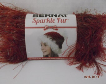 Bernat Sparkle Fur Yarn ~ 50 Grams ~ #87532 Cranberry ~ # 4 Medium ~
