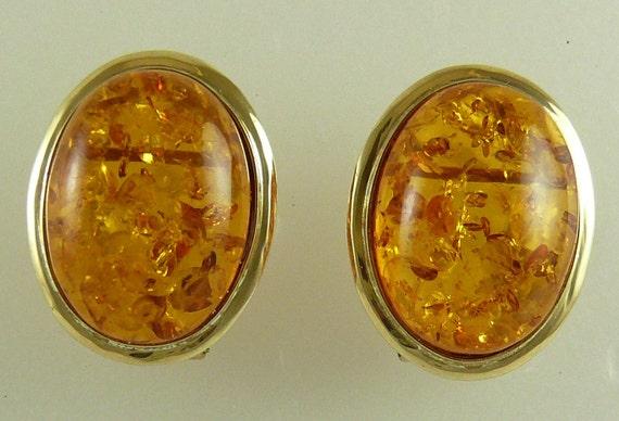 Amber 15.7 mm x 11.6 mm Earrings 14k Yellow Gold Omega Backs