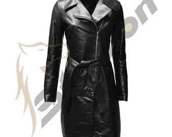 BNWTStallion Women's LAMBSKIN Leather Coat Knee Length ST426
