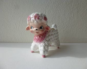 Vintage 50s 60s Japanese Potteries Collectable Baby Girl Lamb Porcelain Figurine Indoor Planter Ceramic Nursery Kitsch Sheep Japan Glam Garb
