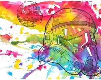 Star Wars rainbow stormtrooper 12x18 digital print