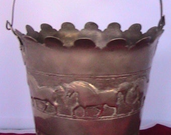 Antique Pewter Bucket all hand hammered and embellished with horses