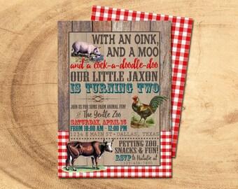ON THE FARM Birthday Party Invitation | Farm Party| Farm Animals Birthday