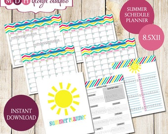 Summer Organizer - Home Binder - Summer Calendar - Summer Bucket List - Daily Planner - Summer Vacation Planner