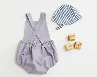 Grey Linen romper, Baby boy romper, toddler romper, baby boy outfit, newborn romper, coming home outfit, grey linen baby overalls,