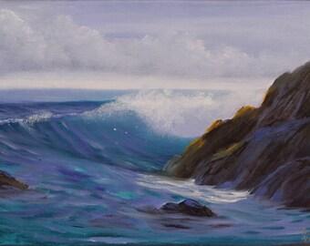 Ocean Waves Painting, Ocean Art, Seascape, Ocean Painting, Waves, Original Landscape Painting on Canvas, Gift for Him, Transparency