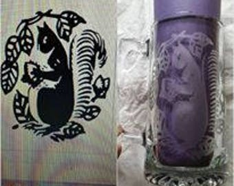 Squirrel 28oz Glass Mug Hand Etched Beer Stein