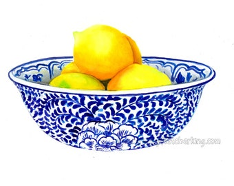Blue and white china lemon bowl ready to frame