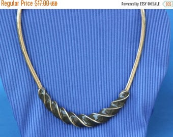 ON SALE Brown and gold swirl necklace