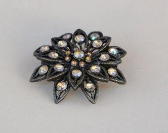 ON SALE Dark silver brooch with aurora borealis stones