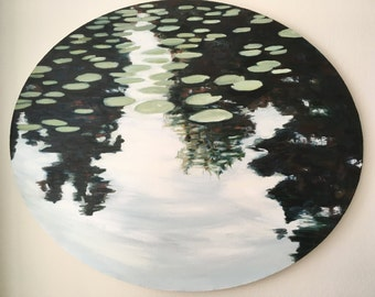 """Lily pads and lake reflections, oval oil painting on canvas, 20"""" x 24"""""""
