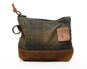 Waxed Canvas Zippered Golf Valuables Field Pouch in English Tartan  personalized monogrammed