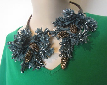 Winter Christmas tree Necklace, Leather necklace Pinecone, fir-tree Necklace, Fir-tree Necklace, Christmas fir-tree necklace, Christmas