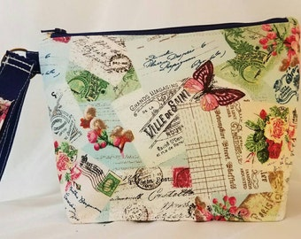 Quirky Southern Small Handbags - Vintage Postcard - Blue Lining