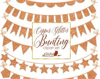 Copper Glitter Bunting Digital Clipart Set | Copper Glitter | Glitter Penannt Clipart | Copper Garland Clipart | Set of 6 Digital PNG Files